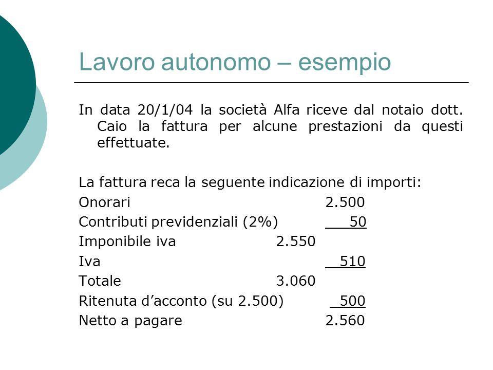 Lavoro autonomo – esempio In data 20/1/04 la società Alfa riceve dal notaio dott. Caio la fattura per alcune prestazioni da questi effettuate. La fatt