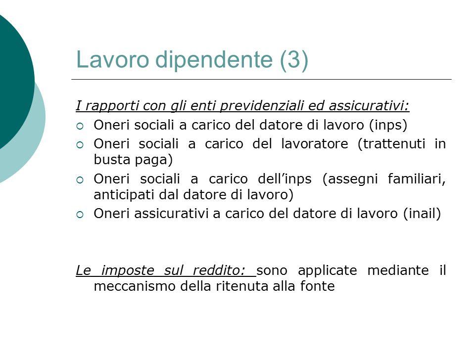 Lavoro dipendente (3) I rapporti con gli enti previdenziali ed assicurativi:  Oneri sociali a carico del datore di lavoro (inps)  Oneri sociali a ca