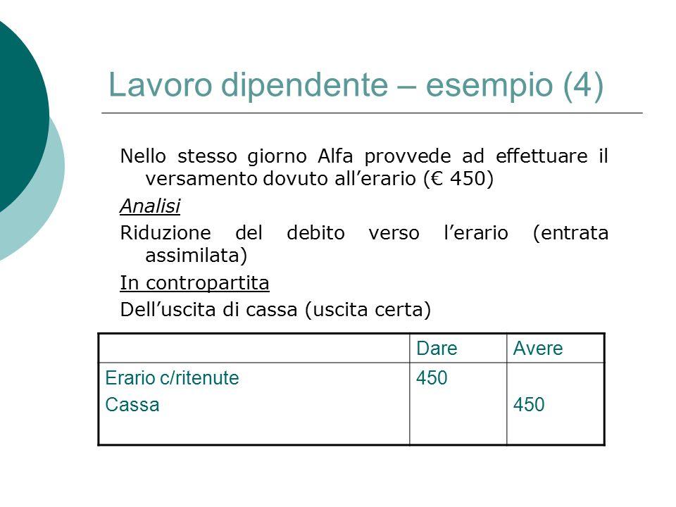 Lavoro dipendente – esempio (4) Nello stesso giorno Alfa provvede ad effettuare il versamento dovuto all'erario (€ 450) Analisi Riduzione del debito v