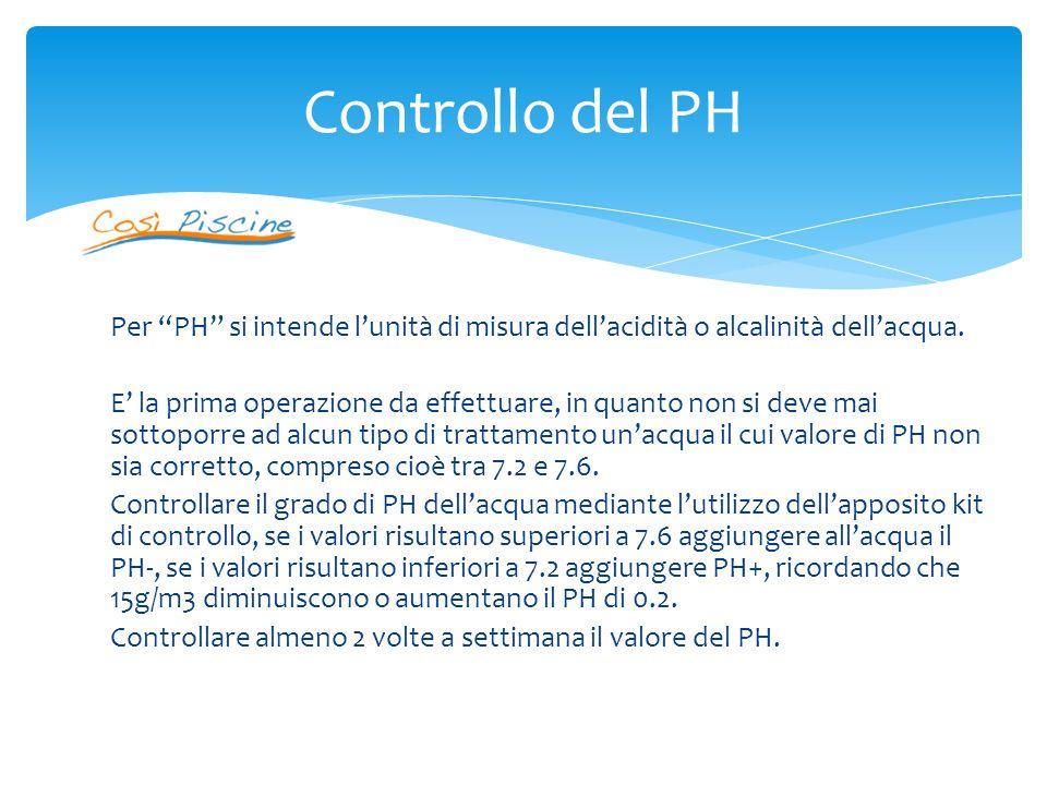 Per PH si intende l'unità di misura dell'acidità o alcalinità dell'acqua.