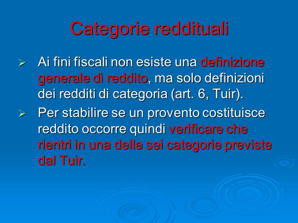 Categorie reddituali  Ai fini fiscali non esiste una definizione generale di reddito, ma solo definizioni dei redditi di categoria (art.