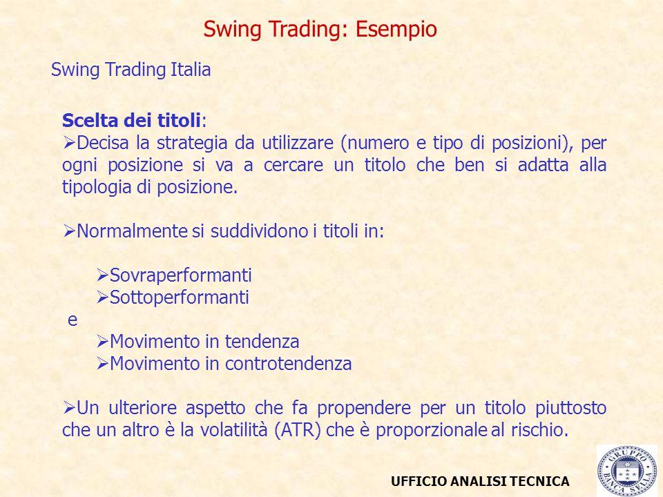 UFFICIO ANALISI TECNICA Swing Trading: Esempio Swing Trading Italia Scelta dei titoli:  Decisa la strategia da utilizzare (numero e tipo di posizioni), per ogni posizione si va a cercare un titolo che ben si adatta alla tipologia di posizione.