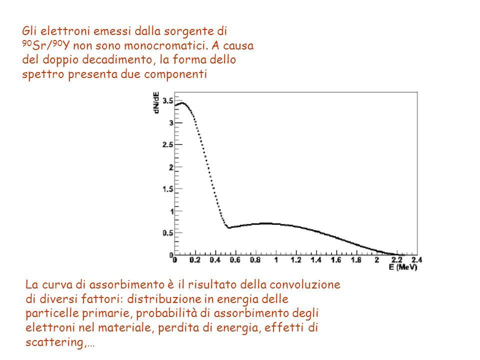 Gli elettroni emessi dalla sorgente di 90 Sr/ 90 Y non sono monocromatici. A causa del doppio decadimento, la forma dello spettro presenta due compone