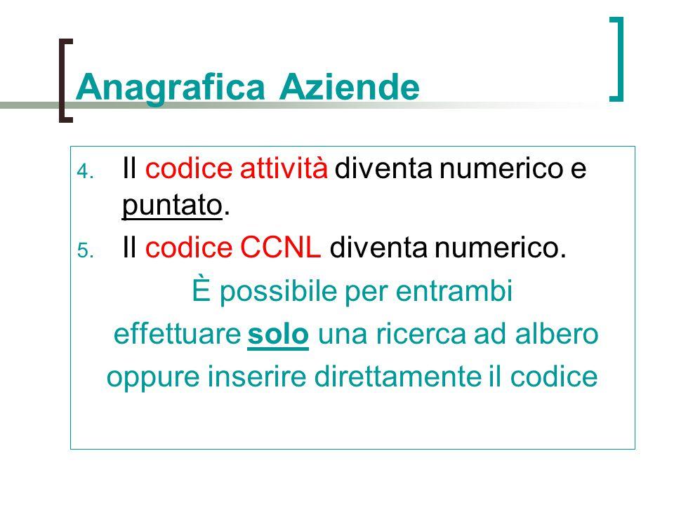 4. Il codice attività diventa numerico e puntato. 5. Il codice CCNL diventa numerico. È possibile per entrambi effettuare solo una ricerca ad albero o