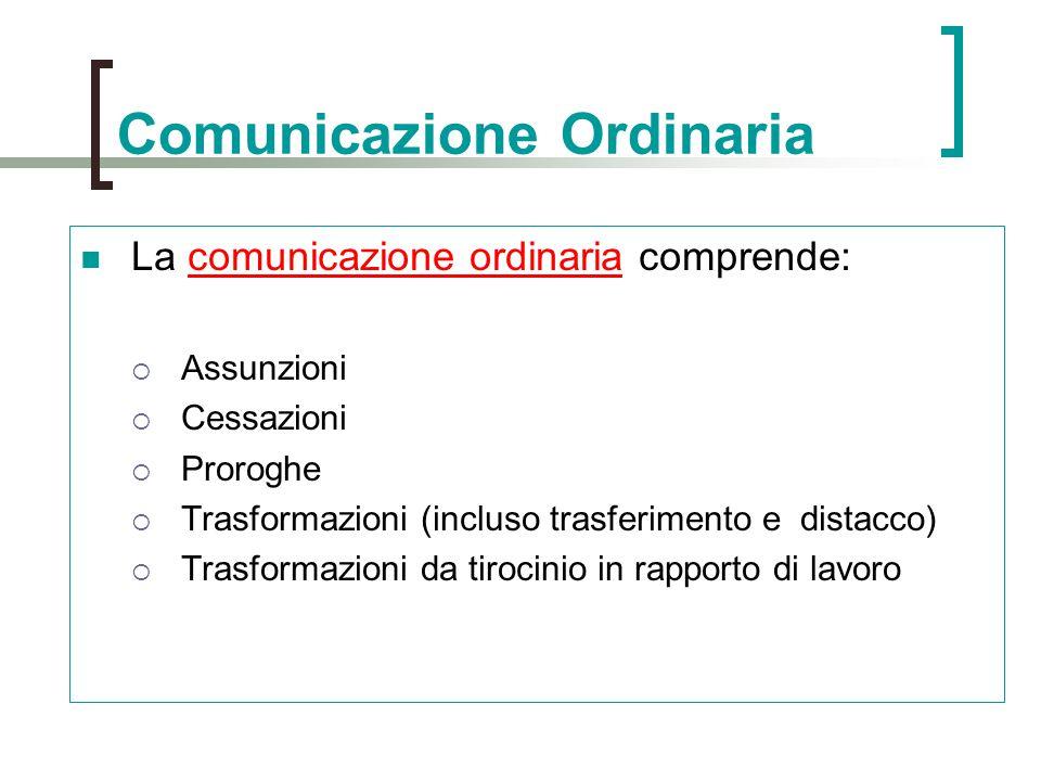 Comunicazione Ordinaria La comunicazione ordinaria comprende:  Assunzioni  Cessazioni  Proroghe  Trasformazioni (incluso trasferimento e distacco)