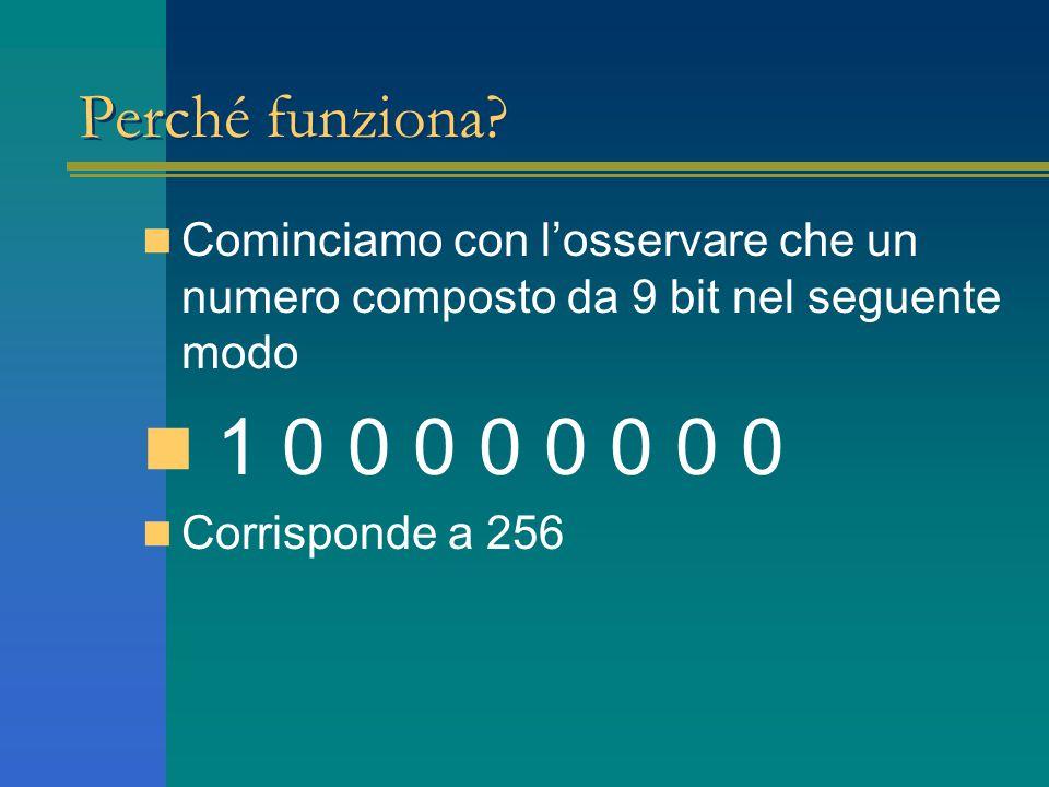 Perché funziona? Cominciamo con l'osservare che un numero composto da 9 bit nel seguente modo 1 0 0 0 0 0 0 0 0 Corrisponde a 256
