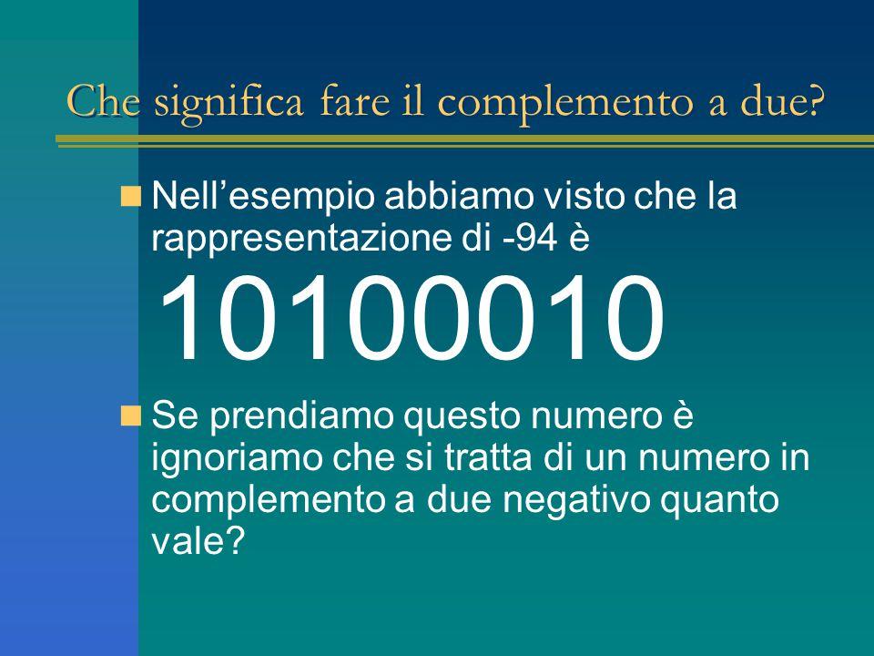 Che significa fare il complemento a due? Nell'esempio abbiamo visto che la rappresentazione di -94 è 10100010 Se prendiamo questo numero è ignoriamo c