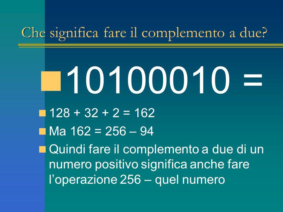 Che significa fare il complemento a due? 10100010 = 128 + 32 + 2 = 162 Ma 162 = 256 – 94 Quindi fare il complemento a due di un numero positivo signif