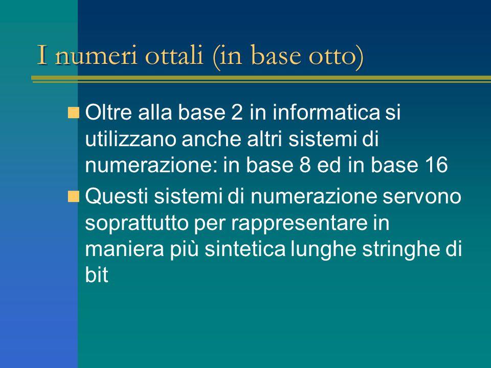 I numeri ottali (in base otto) Oltre alla base 2 in informatica si utilizzano anche altri sistemi di numerazione: in base 8 ed in base 16 Questi sistemi di numerazione servono soprattutto per rappresentare in maniera più sintetica lunghe stringhe di bit
