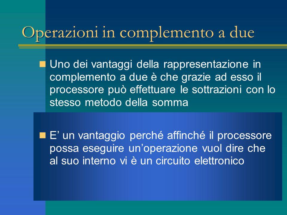 Operazioni in complemento a due Uno dei vantaggi della rappresentazione in complemento a due è che grazie ad esso il processore può effettuare le sott