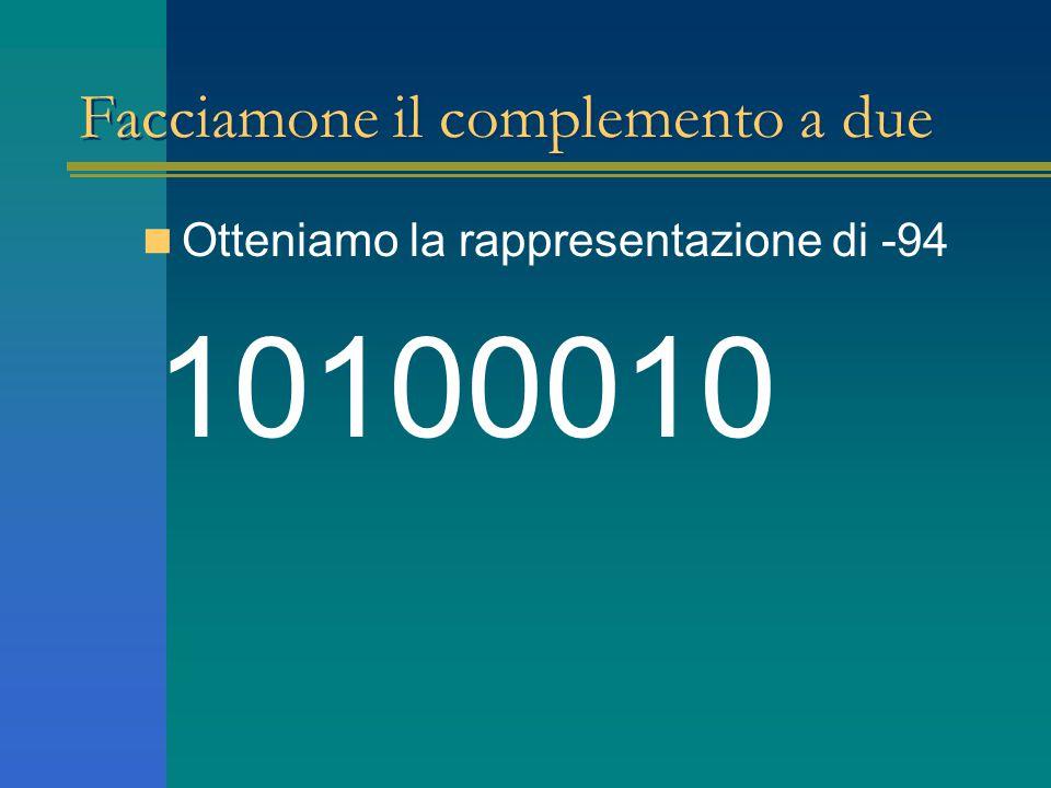 Facciamone il complemento a due Otteniamo la rappresentazione di -94 10100010