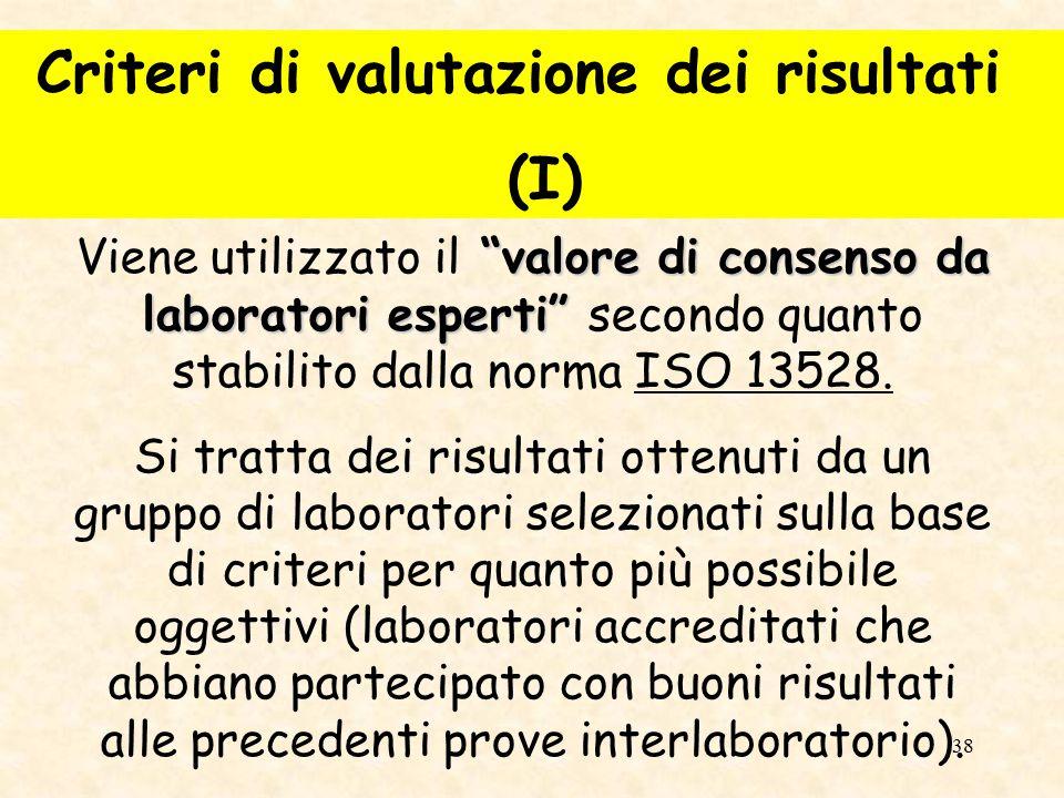 39 Il valore in precedenza richiamato viene utilizzato come termine di confronto per i risultati ottenuti da tutti i laboratori partecipanti alla prova.