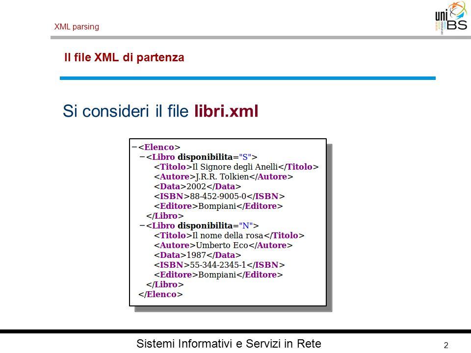 2 XML parsing Sistemi Informativi e Servizi in Rete Il file XML di partenza Si consideri il file libri.xml