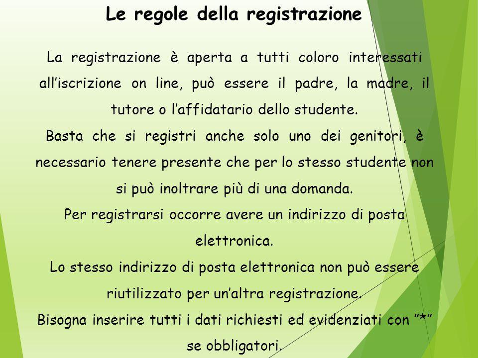 Le regole della registrazione La registrazione è aperta a tutti coloro interessati all'iscrizione on line, può essere il padre, la madre, il tutore o l'affidatario dello studente.