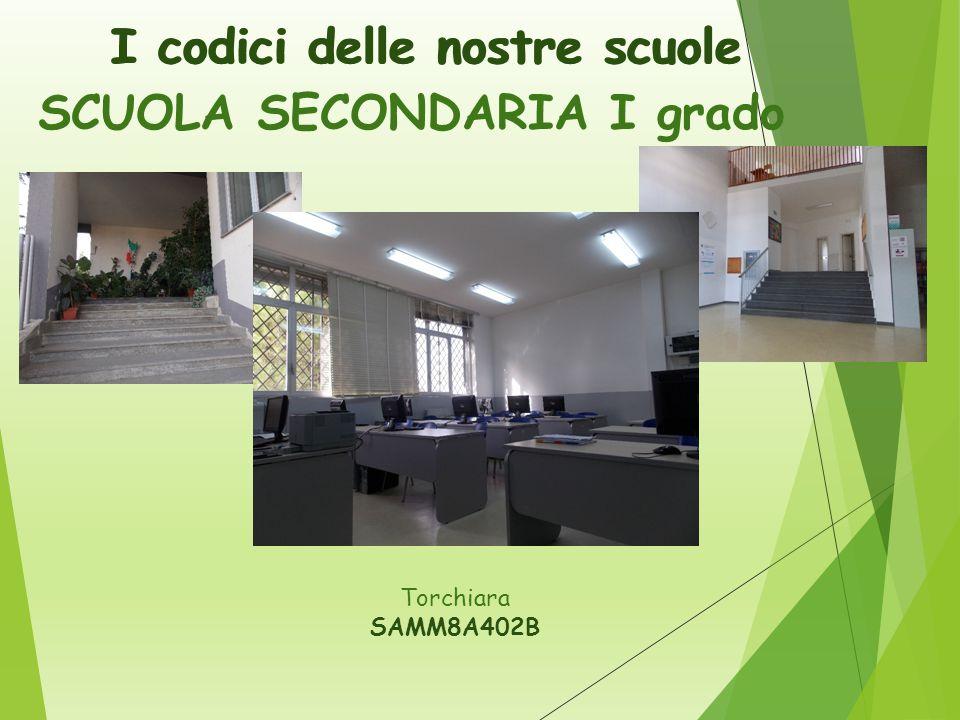 I codici delle nostre scuole SCUOLA SECONDARIA I grado Torchiara SAMM8A402B