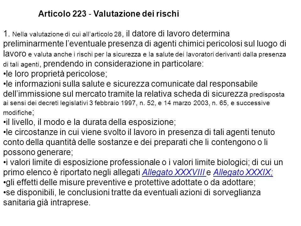 1. Nella valutazione di cui all'articolo 28, il datore di lavoro determina preliminarmente l'eventuale presenza di agenti chimici pericolosi sul luogo