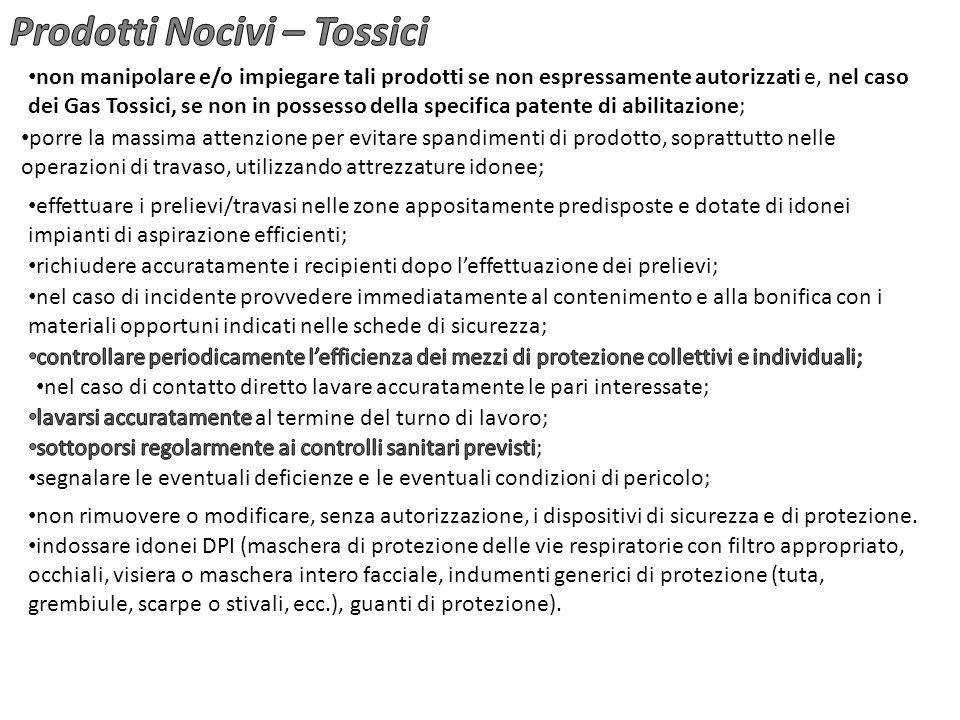 non manipolare e/o impiegare tali prodotti se non espressamente autorizzati e, nel caso dei Gas Tossici, se non in possesso della specifica patente di