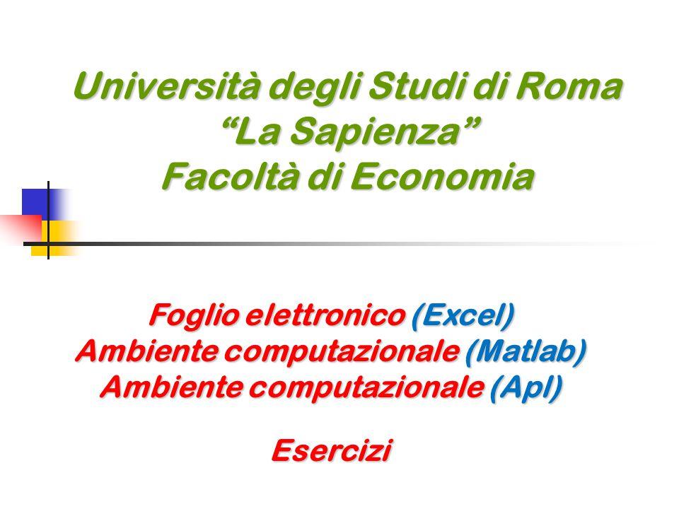 Università degli Studi di Roma La Sapienza Facoltà di Economia Foglio elettronico (Excel) Ambiente computazionale (Matlab) Ambiente computazionale (Apl) Esercizi