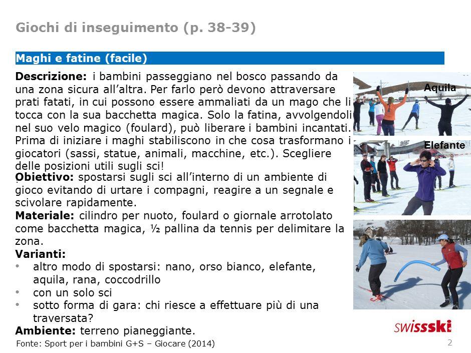 Giochi di inseguimento (p. 38-39) 2 Maghi e fatine (facile) Descrizione: i bambini passeggiano nel bosco passando da una zona sicura all'altra. Per fa