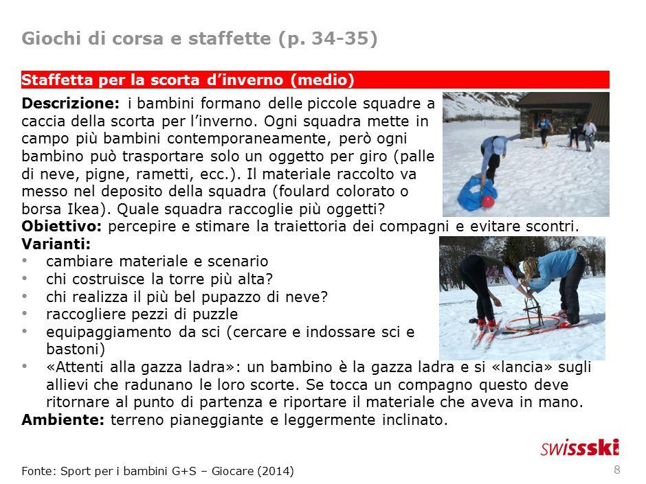 9 Il biathlon con palle di neve (difficile) Descrizione: per la gara biathlon i bambini fanno un giro (possibilmente con ostacoli come dossi e compressioni, salti, curve inclinate, porte) al termine del quali si trova un deposito di palle di neve (o altri oggetti).