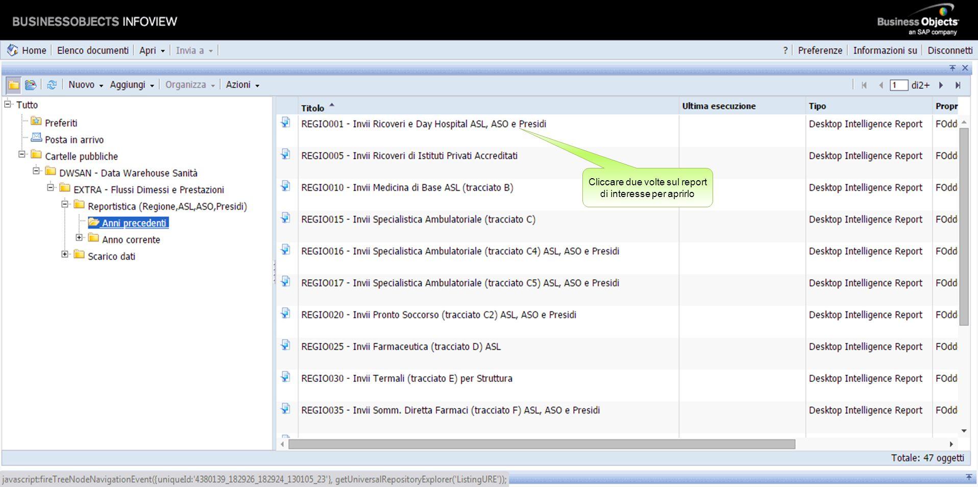 Ciascuna pagina visualizza un elenco di 10 report.
