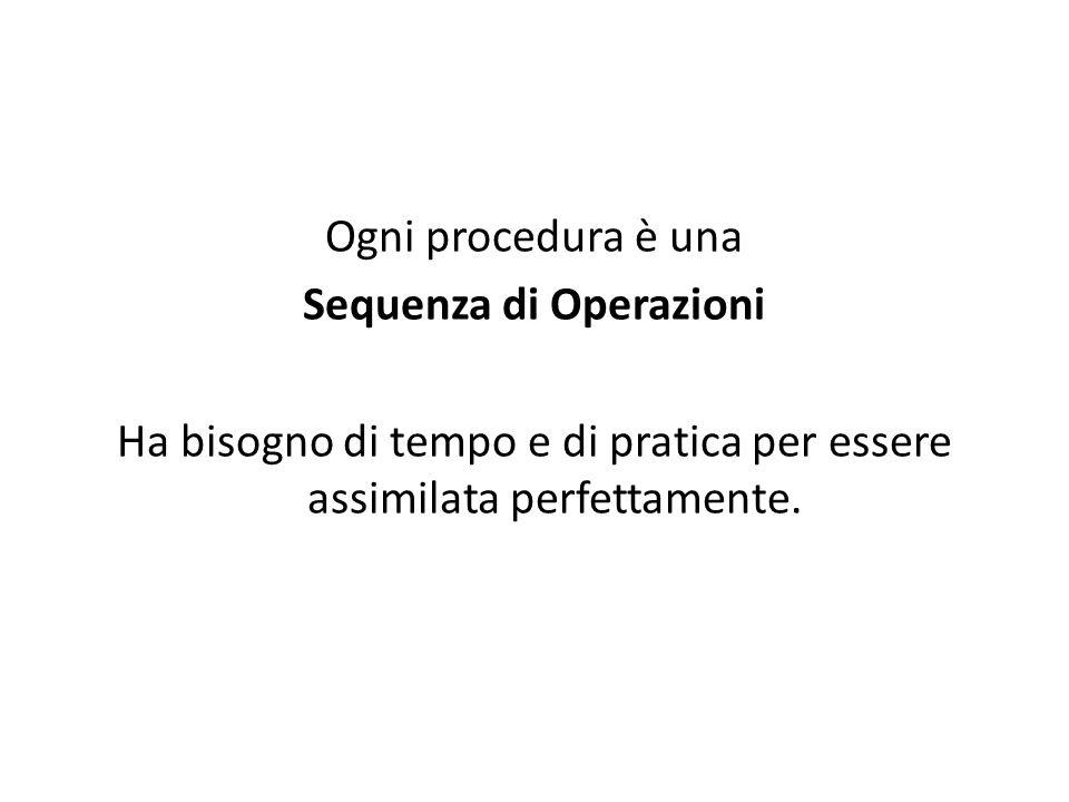 Ogni procedura è una Sequenza di Operazioni Ha bisogno di tempo e di pratica per essere assimilata perfettamente.