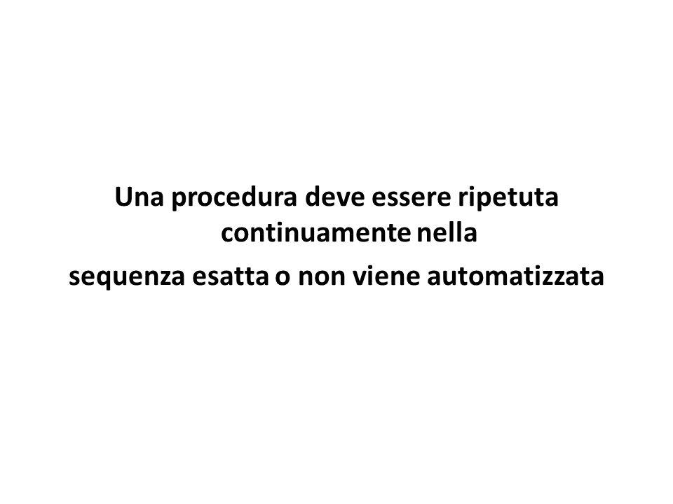Una procedura deve essere ripetuta continuamente nella sequenza esatta o non viene automatizzata