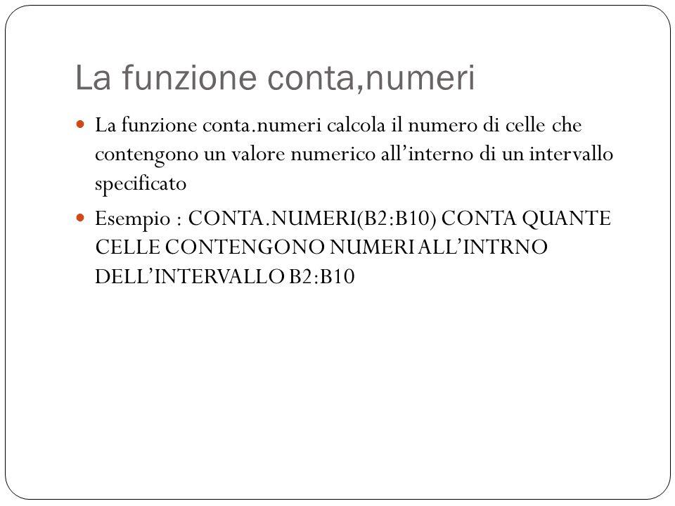 La funzione conta,numeri La funzione conta.numeri calcola il numero di celle che contengono un valore numerico all'interno di un intervallo specificato Esempio : CONTA.NUMERI(B2:B10) CONTA QUANTE CELLE CONTENGONO NUMERI ALL'INTRNO DELL'INTERVALLO B2:B10