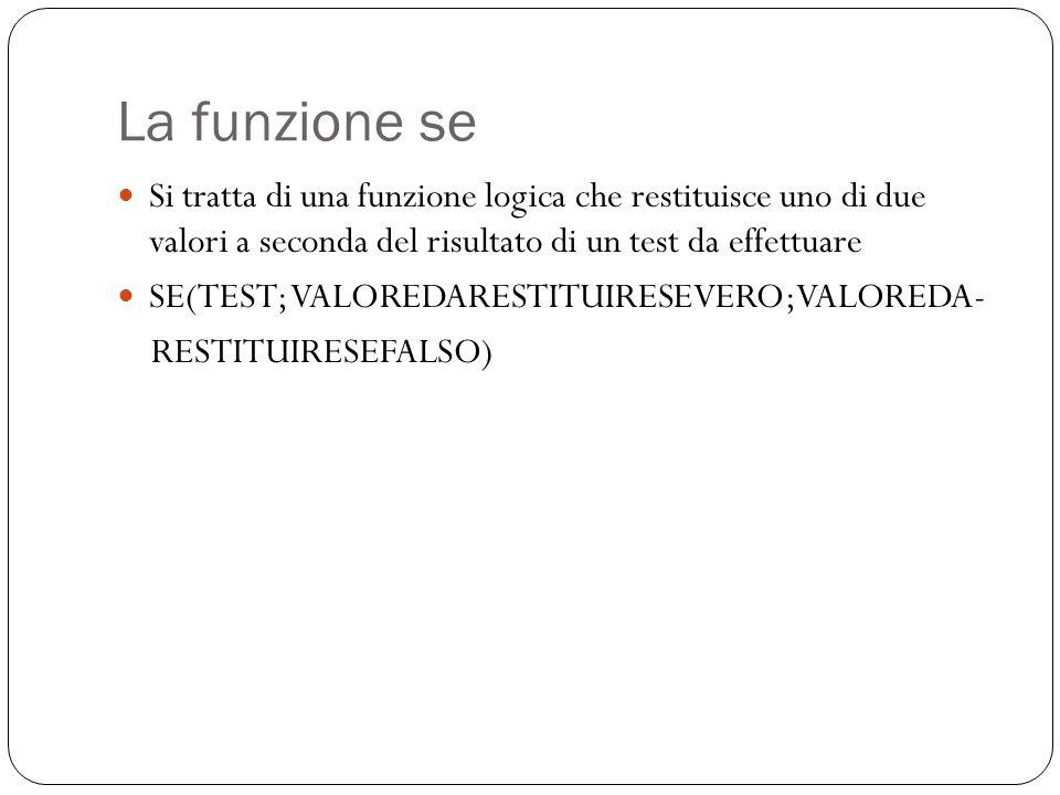La funzione se Si tratta di una funzione logica che restituisce uno di due valori a seconda del risultato di un test da effettuare SE(TEST; VALOREDARESTITUIRESEVERO;VALOREDA- RESTITUIRESEFALSO)
