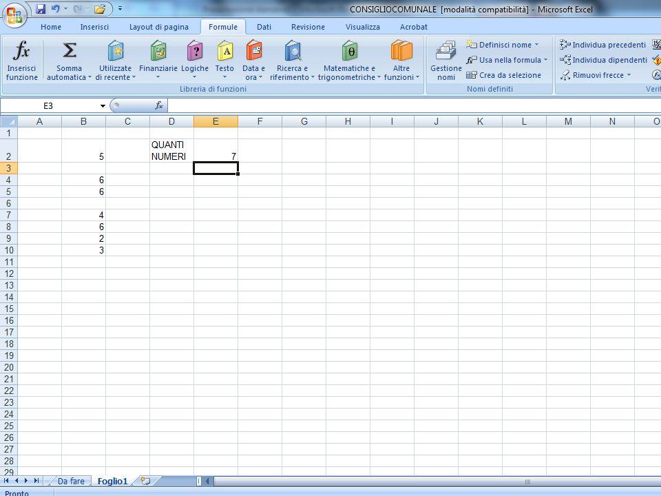 La funzione conta.valori Questa funzione conta quante celle contengono dati di qualsiasi tipo all'interno di un intervallo