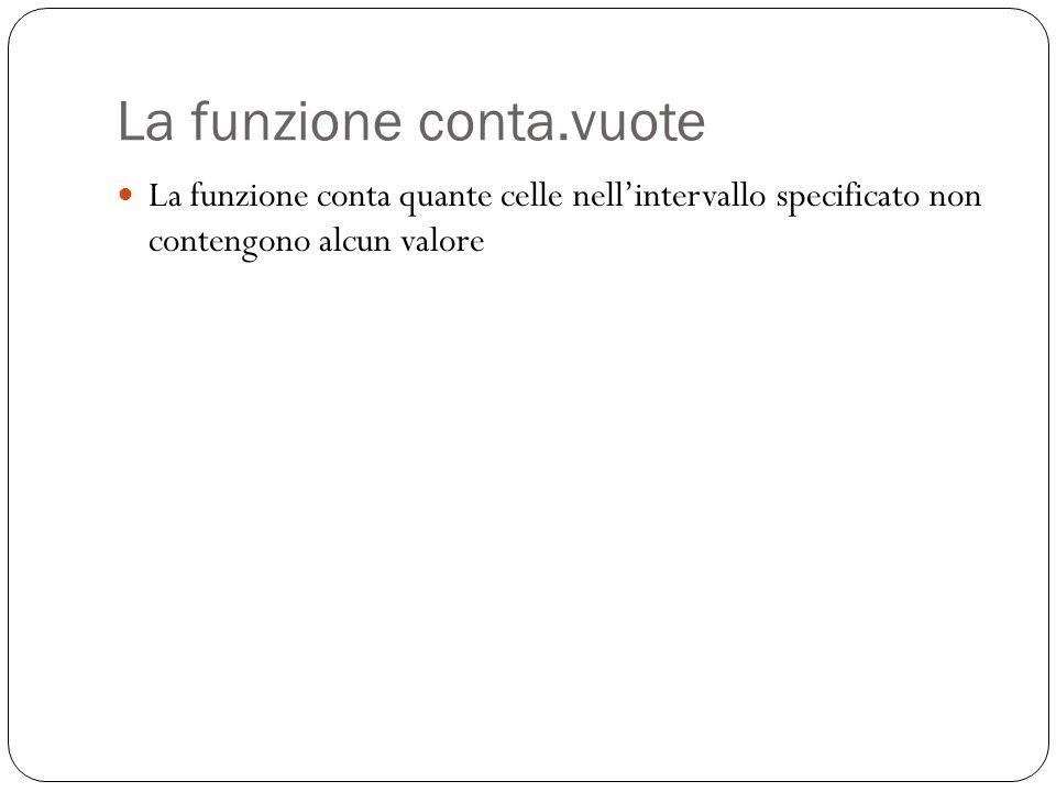 La funzione conta.vuote La funzione conta quante celle nell'intervallo specificato non contengono alcun valore