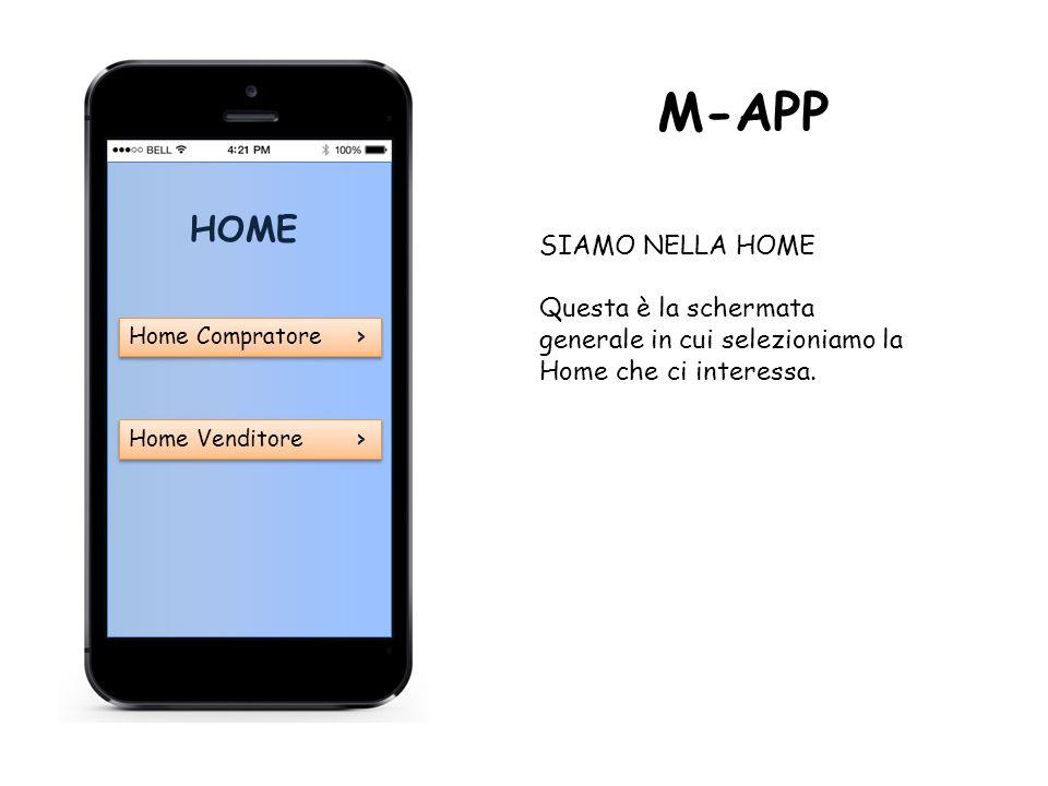 HOME Home Compratore › Home Compratore › Home Venditore › Home Venditore › M-APP SIAMO NELLA HOME Questa è la schermata generale in cui selezioniamo la Home che ci interessa.