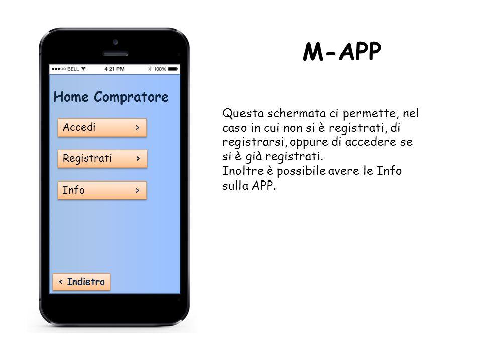 Home Compratore Accedi › Accedi › Registrati › Registrati › Info › Info › ‹ Indietro M-APP Questa schermata ci permette, nel caso in cui non si è registrati, di registrarsi, oppure di accedere se si è già registrati.