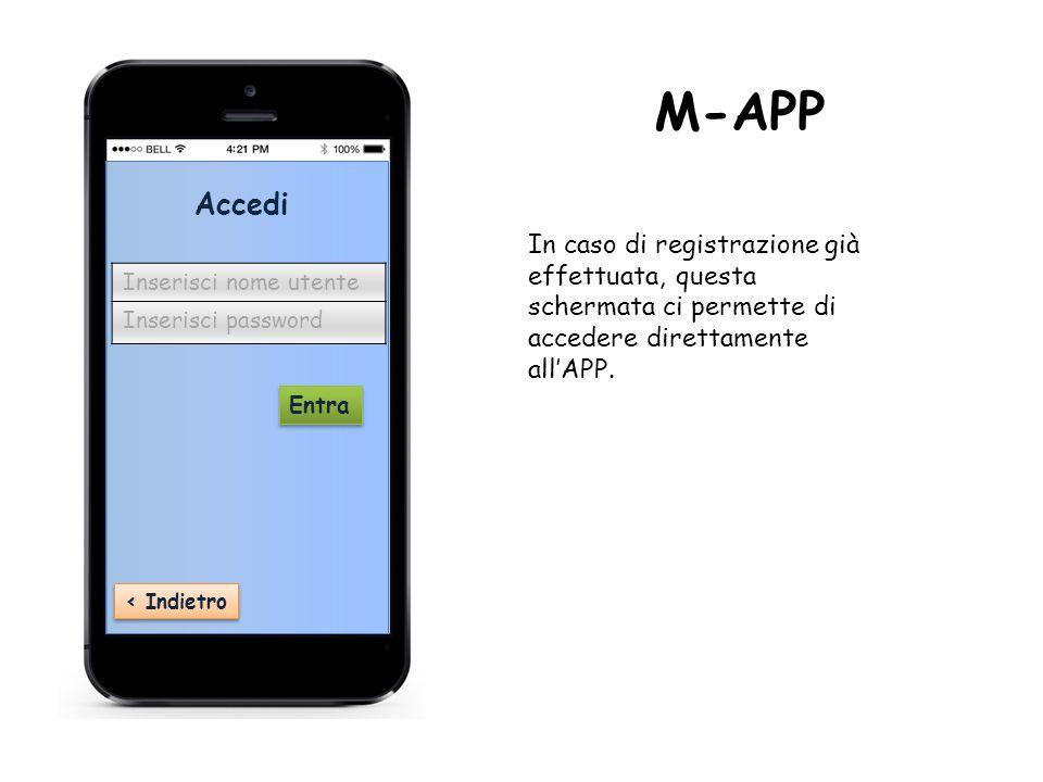 ‹ Indietro Accedi Inserisci nome utente Inserisci password Entra M-APP In caso di registrazione già effettuata, questa schermata ci permette di accedere direttamente all'APP.
