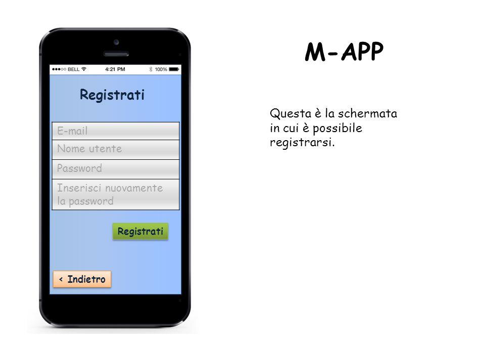 ‹ Indietro Registrati E-mail Nome utente Password Inserisci nuovamente la password Registrati M-APP Questa è la schermata in cui è possibile registrarsi.