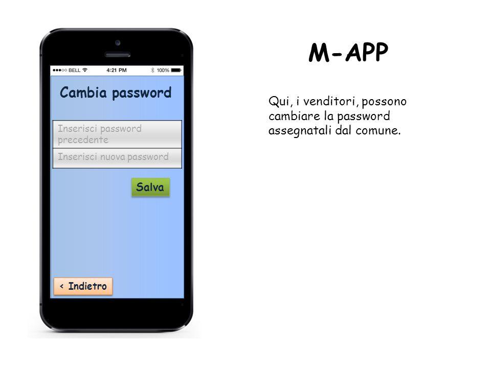 Cambia password ‹ Indietro Inserisci password precedente Inserisci nuova password Salva Qui, i venditori, possono cambiare la password assegnatali dal comune.