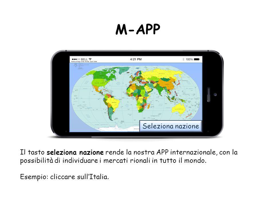 M-APP Seleziona nazione Il tasto seleziona nazione rende la nostra APP internazionale, con la possibilità di individuare i mercati rionali in tutto il mondo.