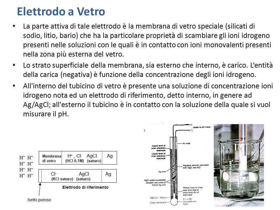 Elettrodo a Vetro La parte attiva di tale elettrodo è la membrana di vetro speciale (silicati di sodio, litio, bario) che ha la particolare proprietà