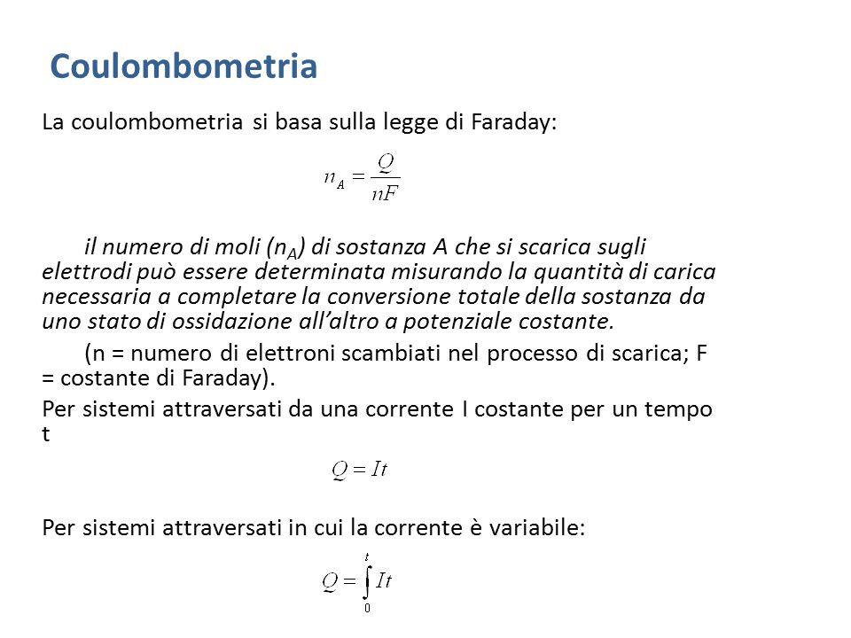 Coulombometria La coulombometria si basa sulla legge di Faraday: il numero di moli (n A ) di sostanza A che si scarica sugli elettrodi può essere dete