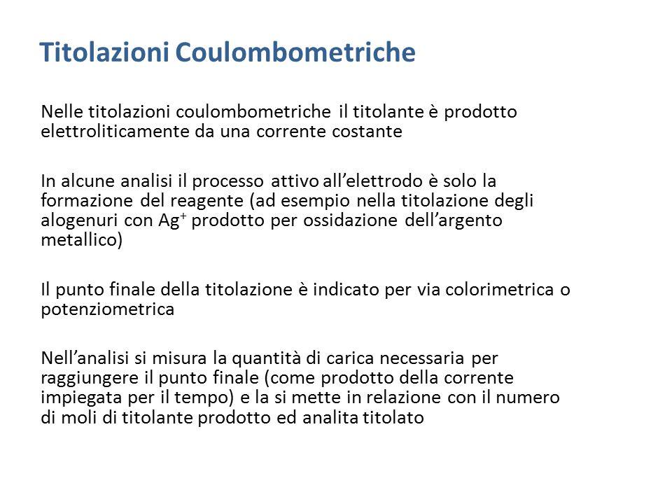 Titolazioni Coulombometriche Nelle titolazioni coulombometriche il titolante è prodotto elettroliticamente da una corrente costante In alcune analisi