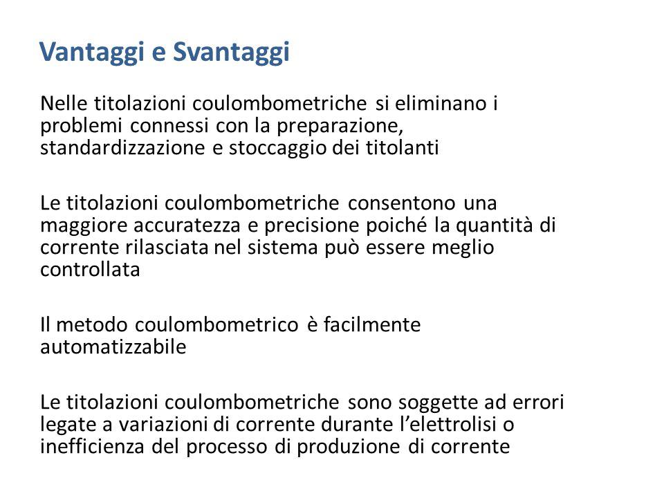 Vantaggi e Svantaggi Nelle titolazioni coulombometriche si eliminano i problemi connessi con la preparazione, standardizzazione e stoccaggio dei titol