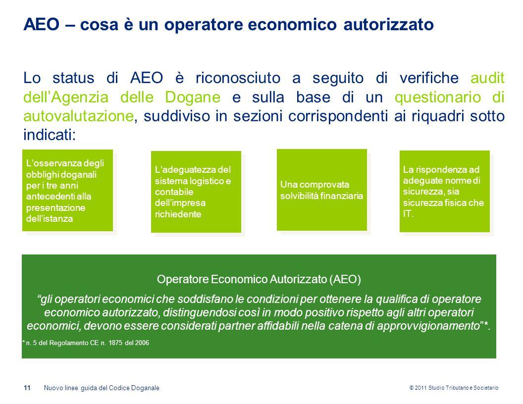 © 2011 Studio Tributario e Societario AEO – cosa è un operatore economico autorizzato 11Nuovo linee guida del Codice Doganale Lo status di AEO è ricon
