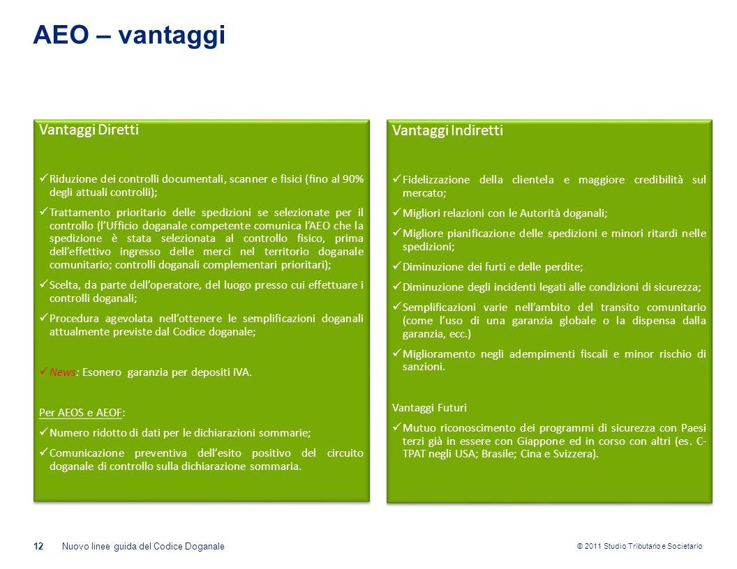 © 2011 Studio Tributario e Societario AEO – vantaggi 12Nuovo linee guida del Codice Doganale Vantaggi Diretti Riduzione dei controlli documentali, sca