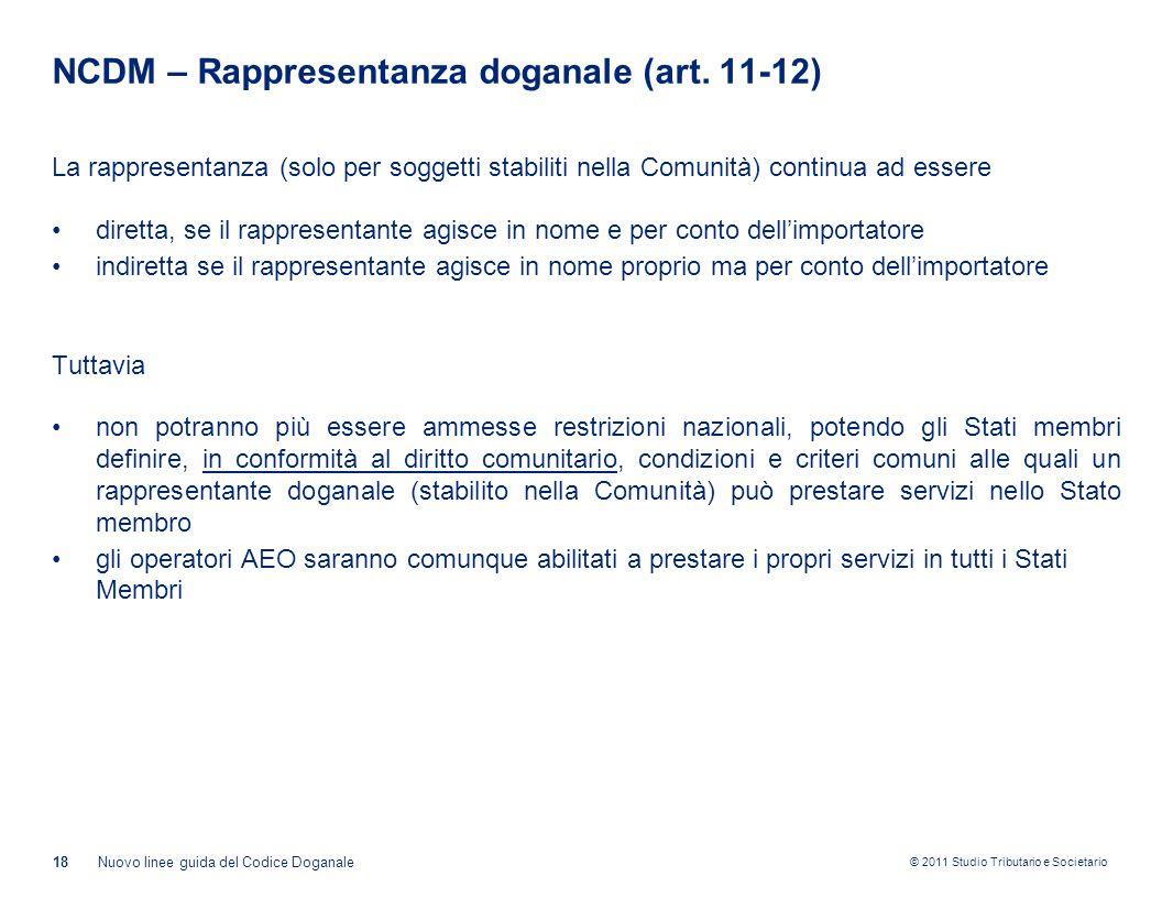 © 2011 Studio Tributario e Societario NCDM – Rappresentanza doganale (art. 11-12) La rappresentanza (solo per soggetti stabiliti nella Comunità) conti