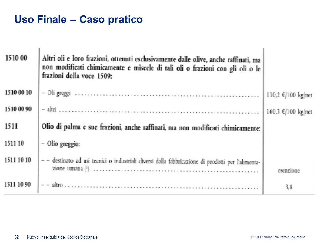 © 2011 Studio Tributario e Societario Uso Finale – Caso pratico 32Nuovo linee guida del Codice Doganale