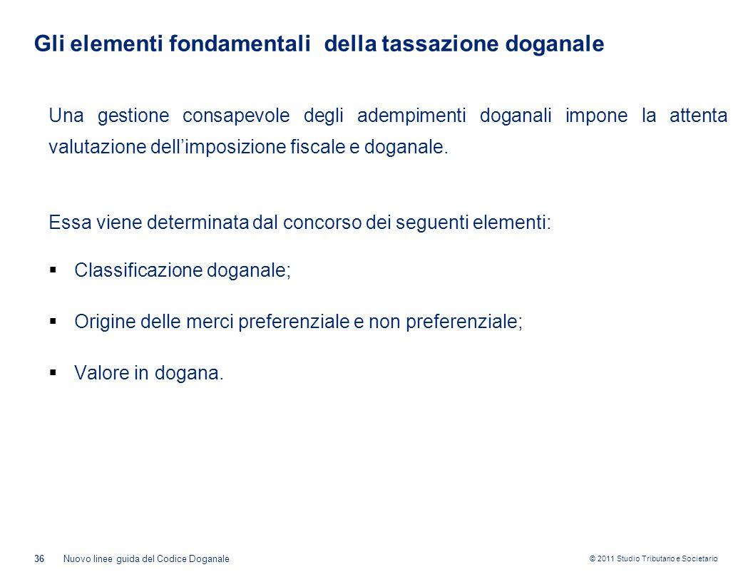© 2011 Studio Tributario e Societario Gli elementi fondamentali della tassazione doganale 36Nuovo linee guida del Codice Doganale Una gestione consape
