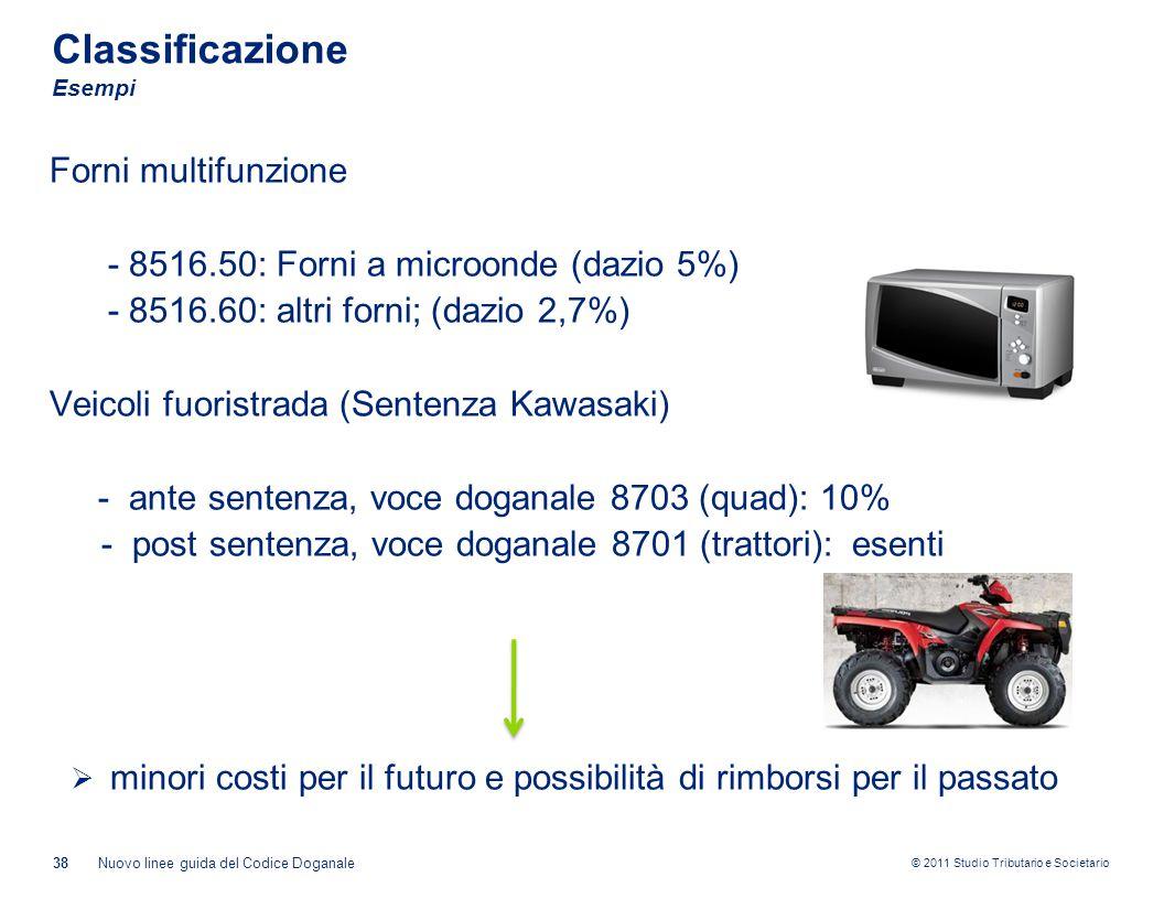 © 2011 Studio Tributario e Societario Classificazione Esempi Forni multifunzione - 8516.50: Forni a microonde (dazio 5%) - 8516.60: altri forni; (dazi