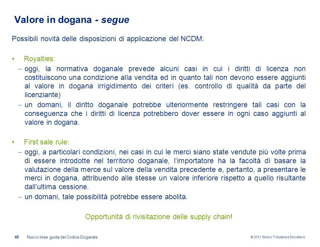 © 2011 Studio Tributario e Societario Valore in dogana - segue Possibili novità delle disposizioni di applicazione del NCDM: Royalties: ‒ oggi, la nor
