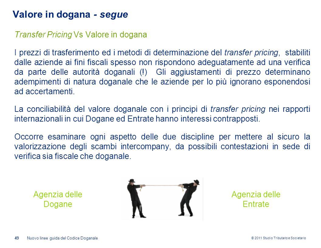 © 2011 Studio Tributario e Societario 49Nuovo linee guida del Codice Doganale Valore in dogana - segue Transfer Pricing Vs Valore in dogana I prezzi d