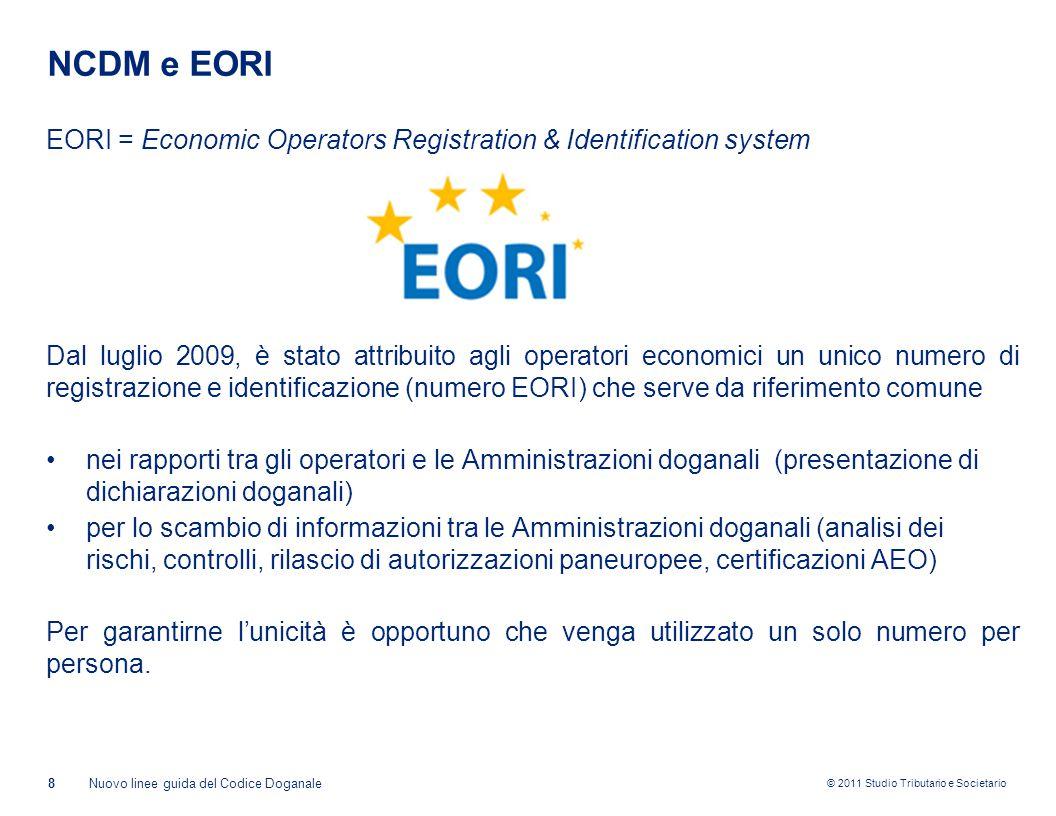 © 2011 Studio Tributario e Societario NCDM e EORI EORI = Economic Operators Registration & Identification system Dal luglio 2009, è stato attribuito a